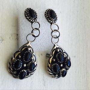 Navajo Signed Sterling Black Onyx Cluster Earrings